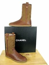 "CHANEL Leather Suede Quilted Shearling Boots, ""CC"" Logo  sz 38.5  NIB"