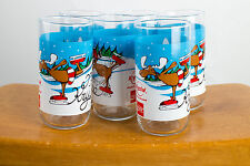 "Krystal ""Merry Krys Moose"" Cocoa Cola Christmas Glasses Set Of 6"
