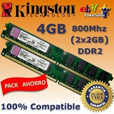 Memoria RAM DDR2 4GB (2x2GB) 800 Mhz Kingston - ¡ NUEVA ! - COMPATIBLES 100%