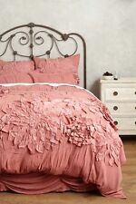ANTHROPOLOGIE Georgina QUEEN Duvet Cover + 2 Standard Shams Rose Bedding NEW