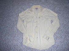 Levi's Mens Small Button Down Shirt Western Checks Plaid Levis White Yellow Top