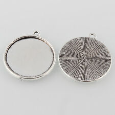 10 x Tibetan Antique Silver Cabochon Pendant Tray settings Round to fit 25mm
