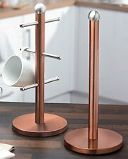 Copper Coloured kitchen Roll Holder With Mug Tree Stand Set