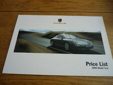 PORSCHE 911 2005 MY PRICE LIST BROCHURE jm