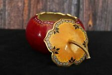 Exquisite Red & Yellow Lacquer Gourd Trinket Box, Mexican Folk Art Hand Made!
