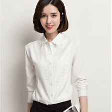 Women Spring Elegant Grid White Long Sleeve Chiffon Blouse Button Down Shirt Top
