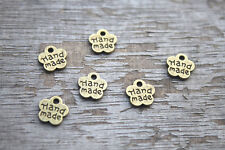 """100pcs Antiqued Tibetan Small """"Hand Made"""" Charms"""