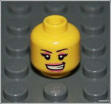 Lego City x1 Yellow Head Smile Pink Lips Eyes Space Female Girl Minifigure NEW