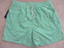 Polo Ralph Lauren Traveler Gingham Swim Shorts Trunks. Color Green  Size 2XL NWT