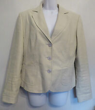 Steilmann UK14 EU42 US10 beige linen/cotton-blend lined long-sleeved jacket