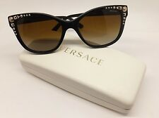 Versace 4270 GB1/T5 Woman Sunglasses Black Gold Stud Italy Cat Eye Polar BE19/21