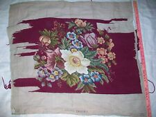 Antique Needlepoint unfinished floral Coronet Tapestry 36 x 32; vtg embroidery