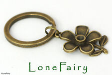 Antique Bronze Plated Flower Keyring Nature Daisy Gardening Florist Key Chain