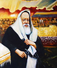 "Oil Painting Hand painted on canvas Stretched- Portrait of Rabbi- Size: 20""x24"""