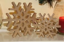 Set of 2 Snow Flakes Christmas decoration freestanding wooden sign