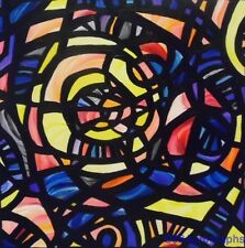 "ORIGINAL ABSTRACT Acrylic Stained Glass Window 20"" x 20"" PAINTING by SARA LARSON"
