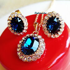 Rose Gold Filled Made with Swarovski Crystal Blue Sapphire Bridal Set N77IE92