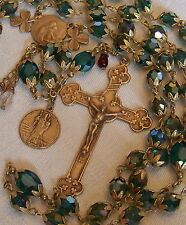Irish Rosary ~ St Patrick ~ 8mm Green Crystal ~ Antique Bronze Design Handmade