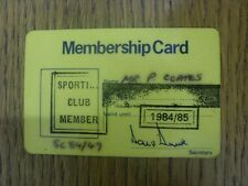 1984/1985 Leeds United: Official Sporting Club Membership Card [Used]. Footy Pro
