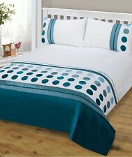 MALIBU SPOTS FAUX SILK TAFFETA STRIPED TEAL SINGLE BED LUXURY DUVET COVER SET