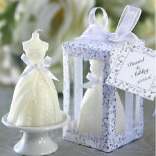 White Elegant Boxed  Bridal Bride Gown Dress Design Candle Wedding Party Decor