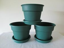 "3* NEW USA MADE 8"" FLOWER POTS HEAVY PLASTIC INDOOR OUTDOOR SAUCER EVERGREEN"