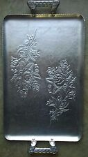 Vintage Everlast Hand Forged Aluminum Rectangular Serving Tray with Roses