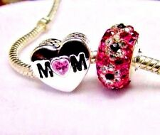 MOM MOTHER'S DAY Charm  European Heart Love Pink Murano Glass + POUCH