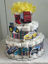 3 Tier Cars and Trucks Boy Diaper Cake Baby Shower Gift Centerpiece