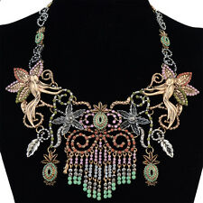 New European Charm Luxury Big Colorful Crystal Flower Pendant Statement Necklace