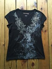 Clavin Klein jeans size Large black floral graphic short sleeve top rhinestones