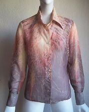 Vintage 70s Disco MOD Dagger Collar FIREWORKS Sheer PHOTO Print Blouse Shirt L