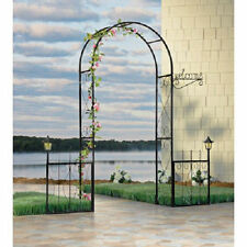 Solar Lighted Black Iron Welcome Arbor Garden Yard Arch Outdoor Plant Wedding