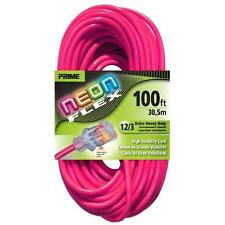 Prime NS513835 Neon Pink Flex Extension Cord, 100 ft.
