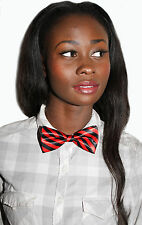 BLK RED STRIPE DICKY BOW GEEK KAWAII JAPAN SCHOOL GIRL ALT PRE TIED BOW TIE