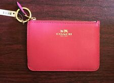COACH Authentic Leather Key Pouch W Gusset Dahlia Pink Card Case Coin Wallet NWT