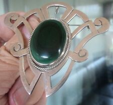 LARGE Mexican Sterling Silver Malachite Pendant & Brooch - Taxco Mexico c.1970s