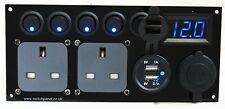 Double CBE Switch Panel USB 12V 2 x 240V Utility Unit Caravan Boat Vito VW