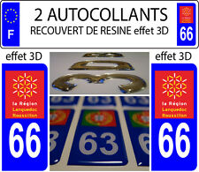 2 stickers plaque immatriculation auto DOMING 3D RESINE LANGUEDOC ROUSSILLON °66