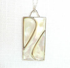 Mother of Pearl Solid 925 Sterling Silver Pendant & Chain
