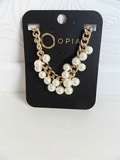 NEW OPIA OVERSIZED YELLOW GOLD METAL & PEARL CHUNKY STATEMENT NECKLACE