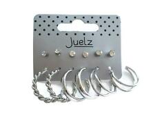 6 Pack of Studs and Hoop Dangle Drop Earrings Style mix in Silver Tone & Crystal