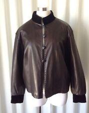 Vintage 80's Yves Saint Laurent Rive Gauche Brown Leather Jacket Sz 40 Fr