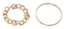 Classic Collection Gold Chunky Chain Bracelet & Slim Gold Hand Bangle(Ns22)