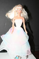 1976 Mattel Blonde Barbie Doll in Beautiful Rainbow Evening Gown w/Jewery,Shoes