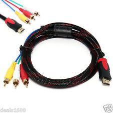 5ft Male HDMI to 3 RCA Video Audio AV Cable Cord Adapter For TV HDTV DVD 1080P