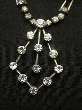 "Art Deco Design Rhinestone Necklace 16"" Long Perfect for Prom"
