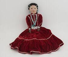 Native American Indian Doll Handmade Beaded Maiden #2 (E5R) Red Dress