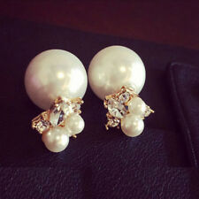 Double Sides Pearl Ball Earring Stud Earrings For Girls Crystal Jewelry Fashion