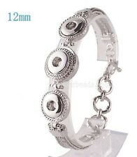 Silver Adjustable 12mm Mini Petite 3 Snap Bracelet For Ginger Snaps Jewelry